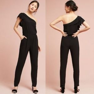 Anthro One Shoulder Ruffle Jumpsuit